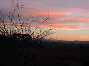 Winter sunset, Aude: Pyrenees in the background.